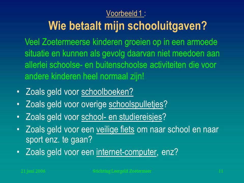 21 juni 2006Stichting Leergeld Zoetermeer11 Voorbeeld 1 : Wie betaalt mijn schooluitgaven? Zoals geld voor schoolboeken? Zoals geld voor overige schoo