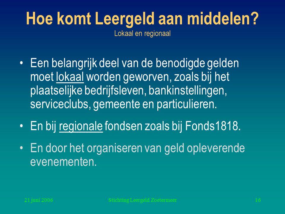 21 juni 2006Stichting Leergeld Zoetermeer16 Hoe komt Leergeld aan middelen? Lokaal en regionaal Een belangrijk deel van de benodigde gelden moet lokaa