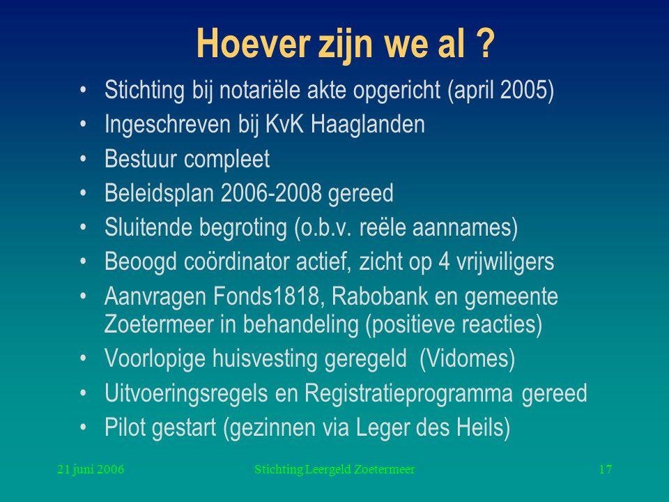 21 juni 2006Stichting Leergeld Zoetermeer17 Hoever zijn we al ? Stichting bij notariële akte opgericht (april 2005) Ingeschreven bij KvK Haaglanden Be