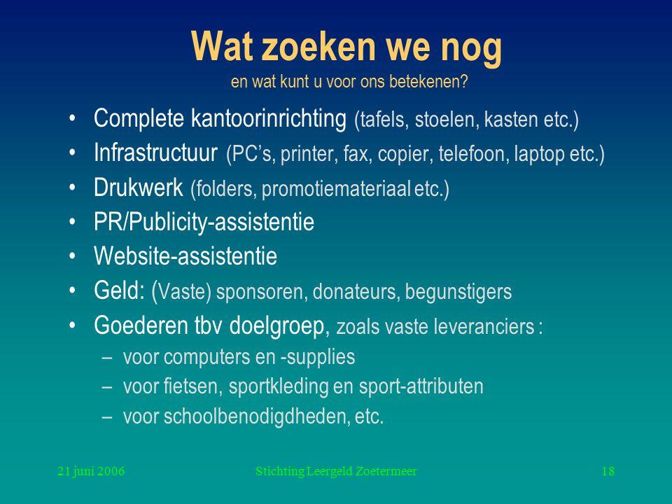 21 juni 2006Stichting Leergeld Zoetermeer18 Wat zoeken we nog en wat kunt u voor ons betekenen? Complete kantoorinrichting (tafels, stoelen, kasten et