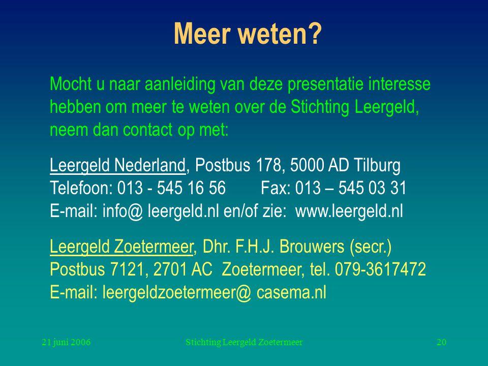 21 juni 2006Stichting Leergeld Zoetermeer20 Meer weten.
