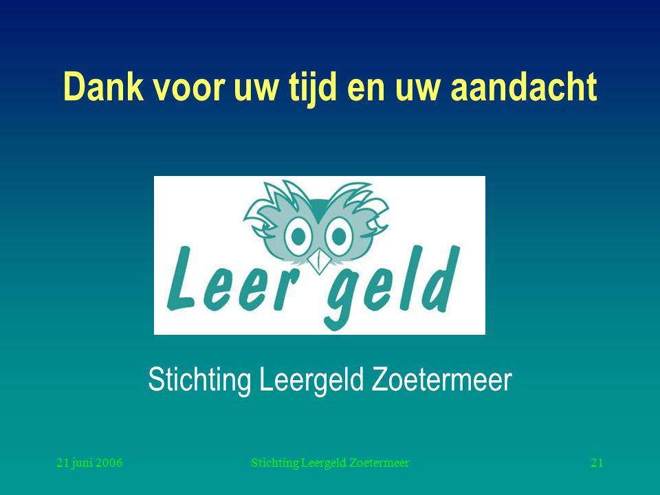 21 juni 2006Stichting Leergeld Zoetermeer21 Dank voor uw tijd en uw aandacht Stichting Leergeld Zoetermeer