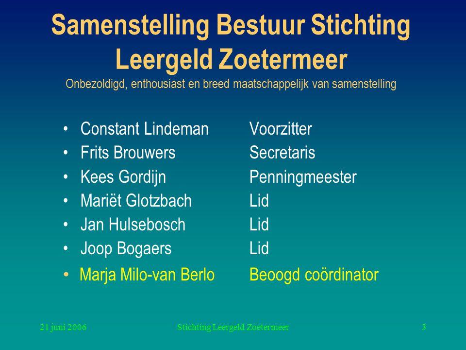 21 juni 2006Stichting Leergeld Zoetermeer3 Samenstelling Bestuur Stichting Leergeld Zoetermeer Onbezoldigd, enthousiast en breed maatschappelijk van s