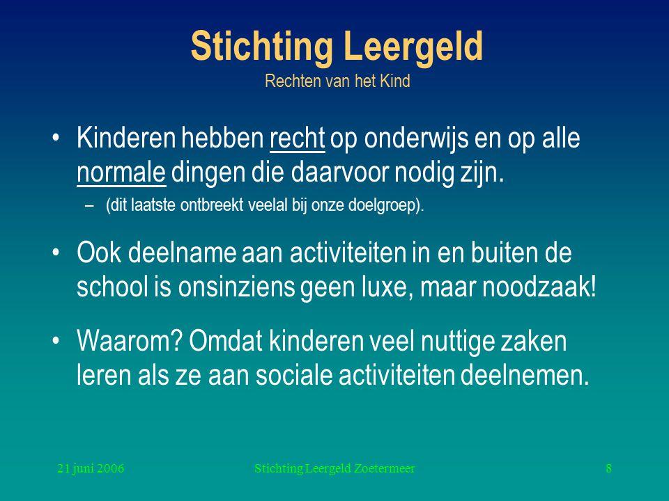 21 juni 2006Stichting Leergeld Zoetermeer8 Stichting Leergeld Rechten van het Kind Kinderen hebben recht op onderwijs en op alle normale dingen die daarvoor nodig zijn.