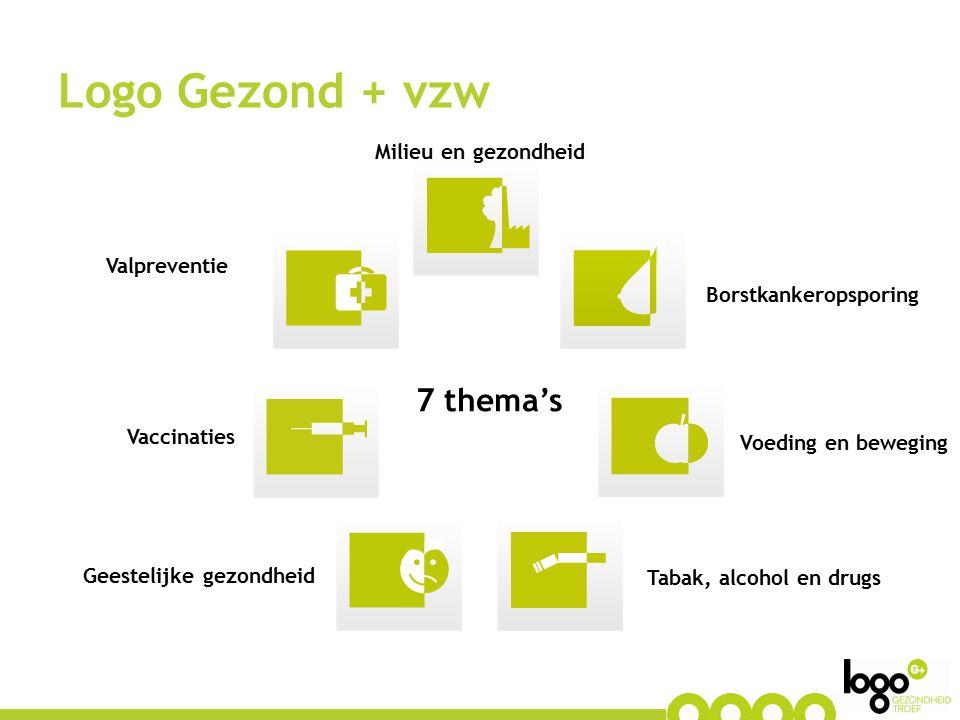 7 thema's Logo Gezond + vzw Milieu en gezondheid Voeding en beweging Borstkankeropsporing Geestelijke gezondheid Tabak, alcohol en drugs Valpreventie