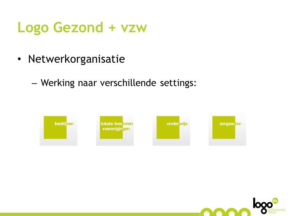 Netwerkorganisatie – Werking naar verschillende settings: Logo Gezond + vzw