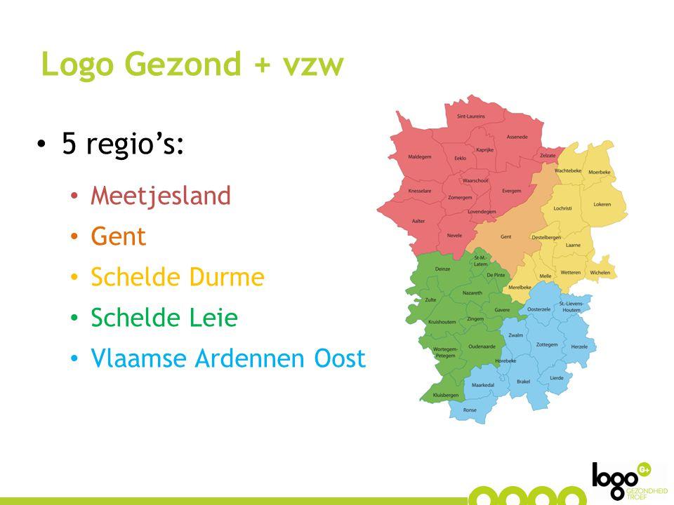 5 regio's: Meetjesland Gent Schelde Durme Schelde Leie Vlaamse Ardennen Oost Logo Gezond + vzw
