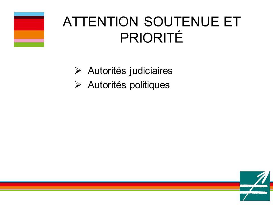 ATTENTION SOUTENUE ET PRIORITÉ  Autorités judiciaires  Autorités politiques