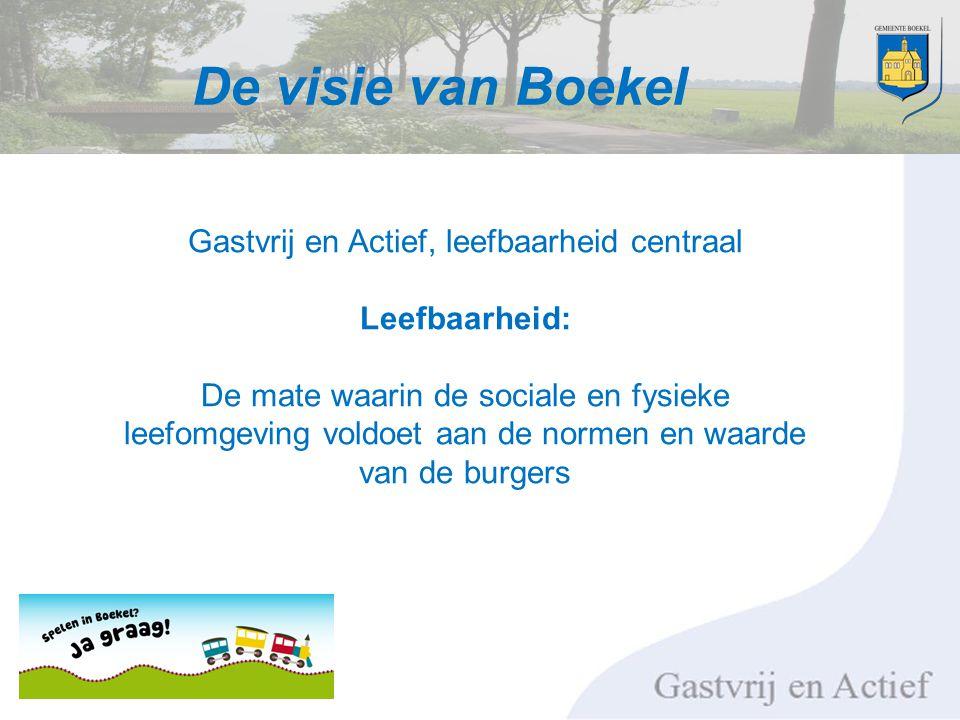 De visie van Boekel Gastvrij en Actief, leefbaarheid centraal Leefbaarheid: De mate waarin de sociale en fysieke leefomgeving voldoet aan de normen en waarde van de burgers