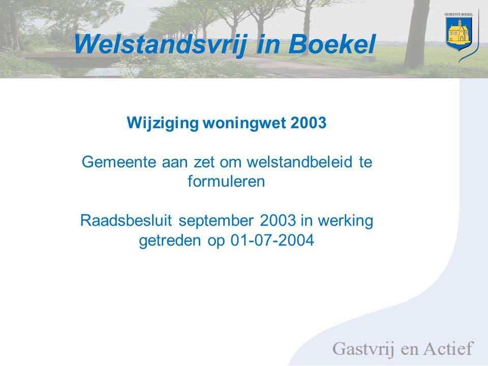 Welstandsvrij in Boekel Wijziging woningwet 2003 Gemeente aan zet om welstandbeleid te formuleren Raadsbesluit september 2003 in werking getreden op 01-07-2004