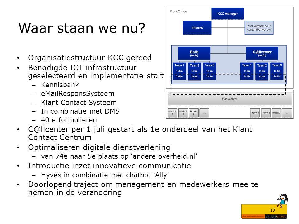 10 Waar staan we nu? Organisatiestructuur KCC gereed Benodigde ICT infrastructuur geselecteerd en implementatie start – Kennisbank – eMailResponsSyste