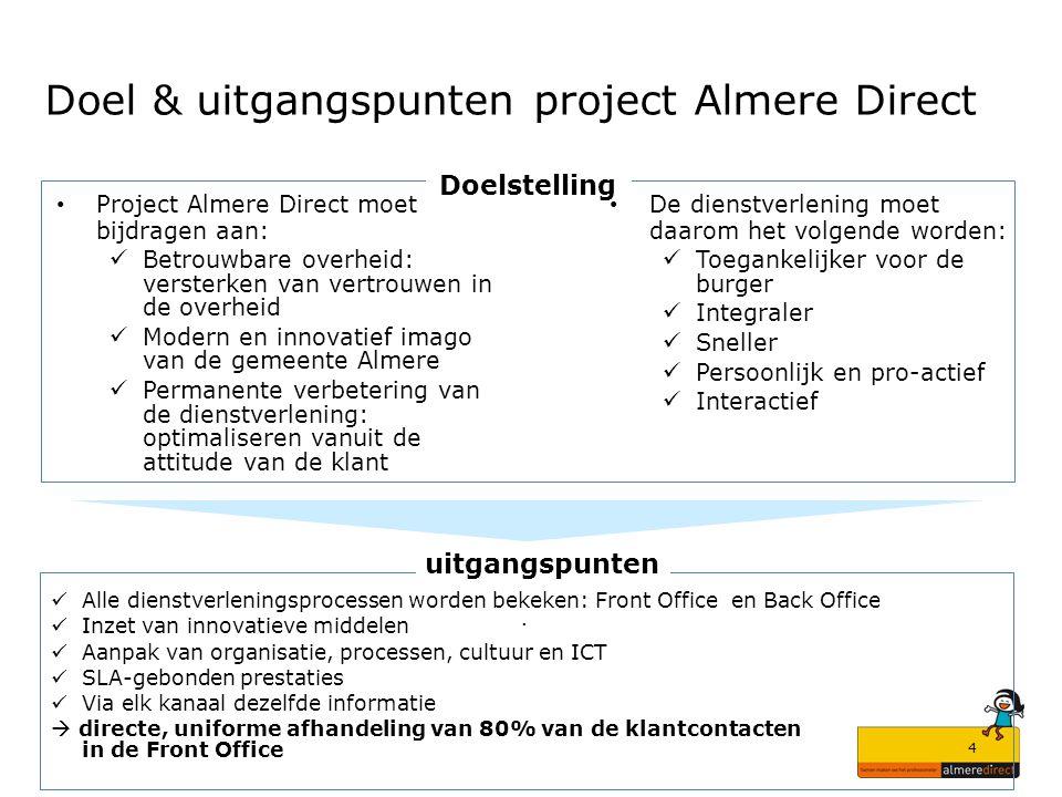 4 Doel & uitgangspunten project Almere Direct Project Almere Direct moet bijdragen aan: Betrouwbare overheid: versterken van vertrouwen in de overheid