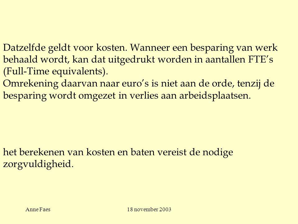 Anne Faes18 november 2003 Datzelfde geldt voor kosten.
