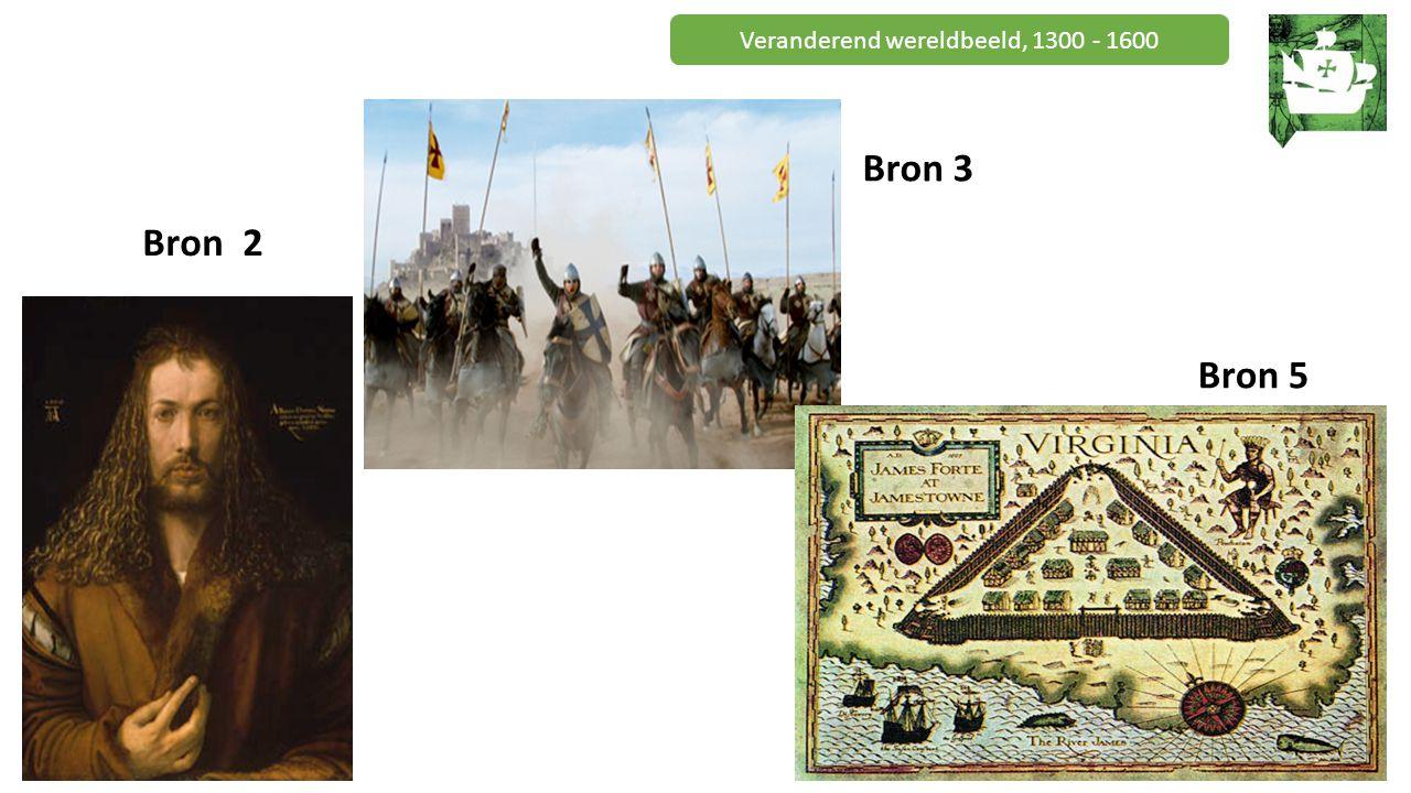 Veranderend wereldbeeld, 1300 - 1600 Betekenis geven aan bronnen Opdracht B: 1.Jullie krijgen een aantal bronnen (ronde 1 afbeeldingen / ronde 2 uitspraken) 2.Elke bron hoort bij één van de kenmerkende aspecten.