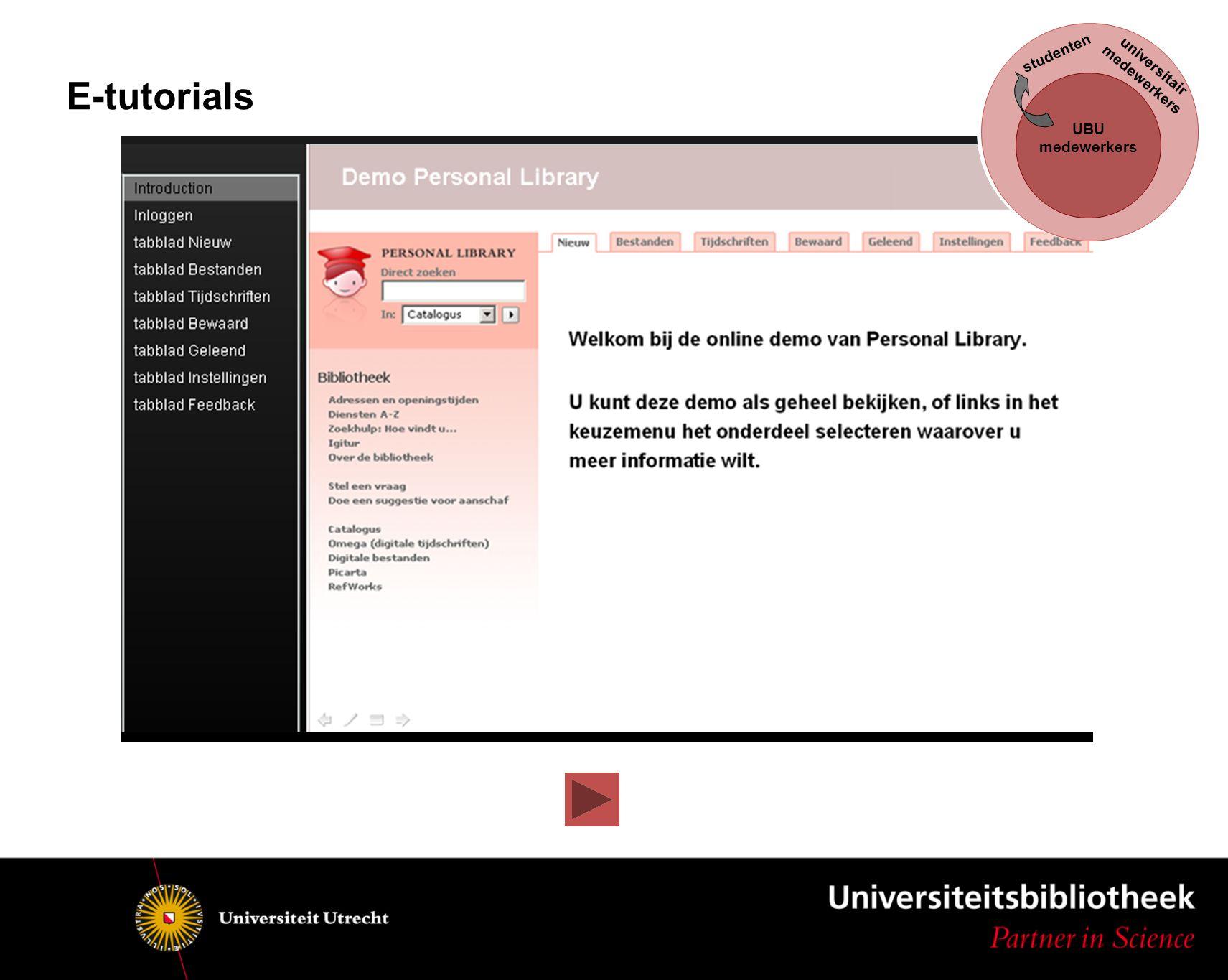 UBU medewerkers studenten universitair medewerkers E-tutorials