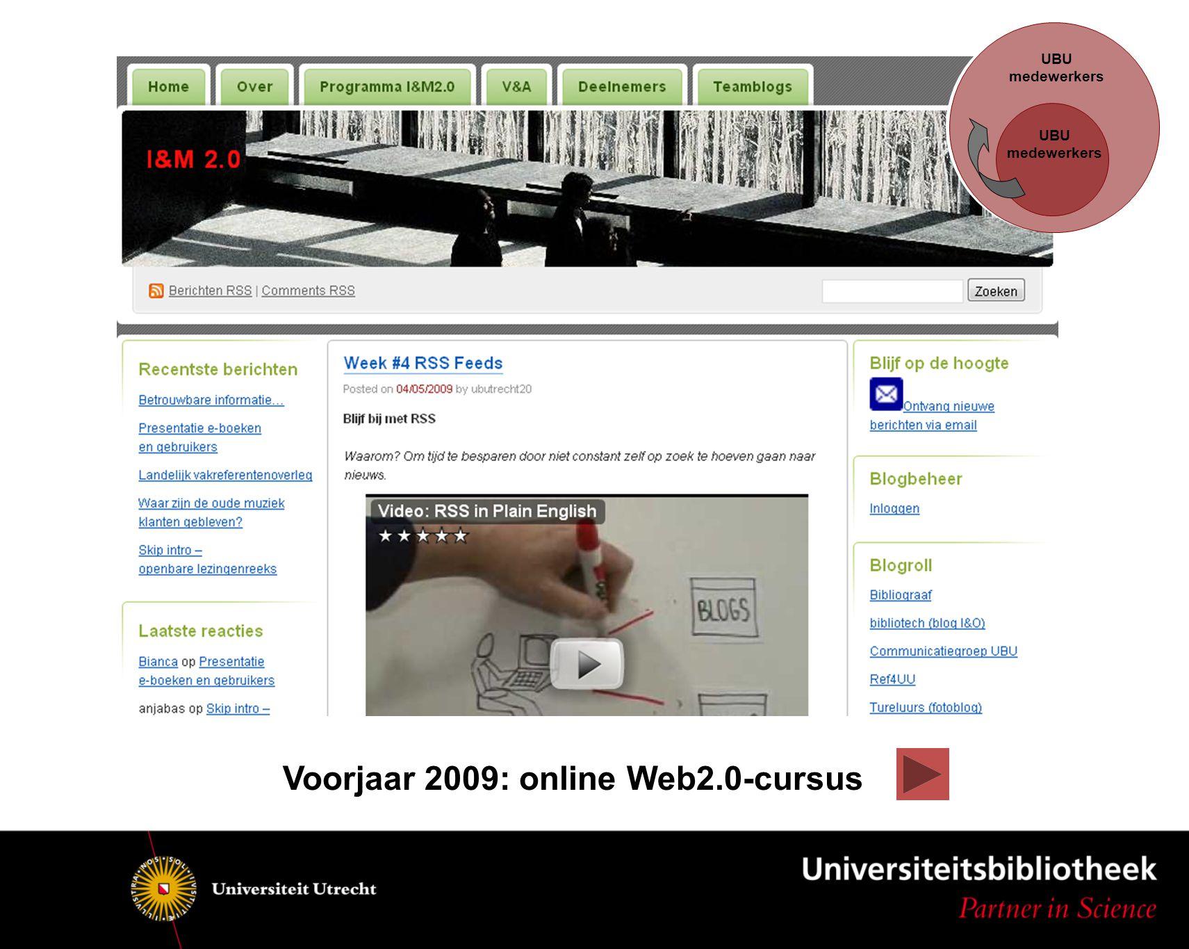 UBU medewerkers UBU medewerkers Voorjaar 2009: online Web2.0-cursus