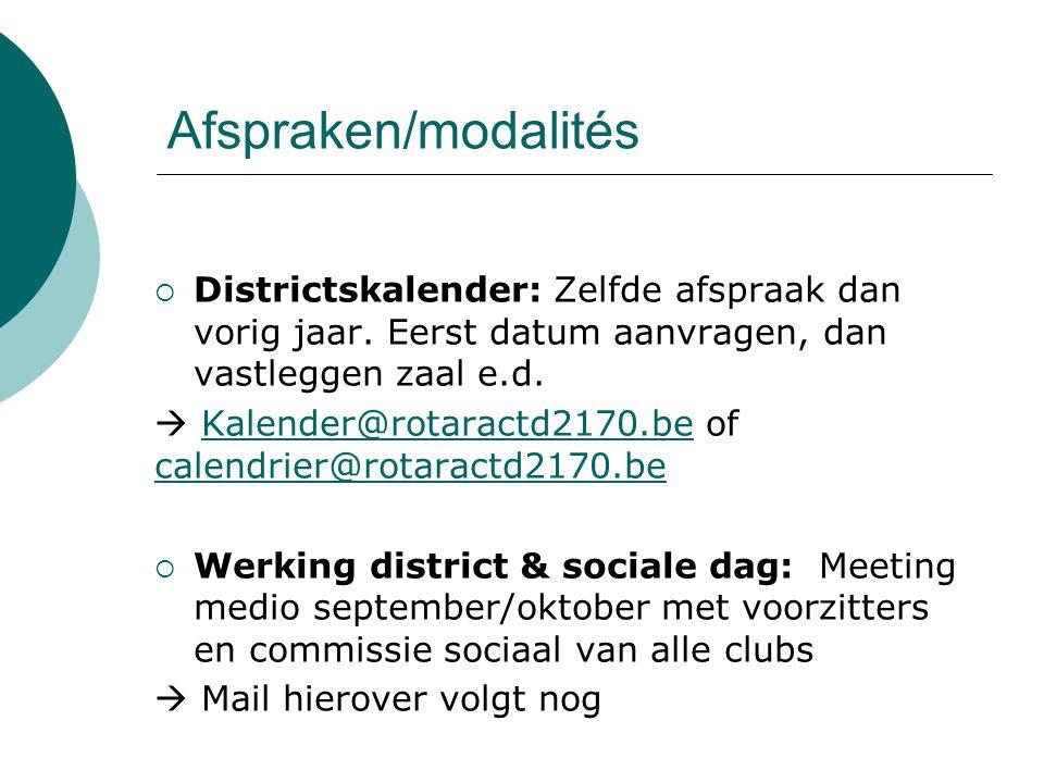 Afspraken/modalités  Districtskalender: Zelfde afspraak dan vorig jaar.