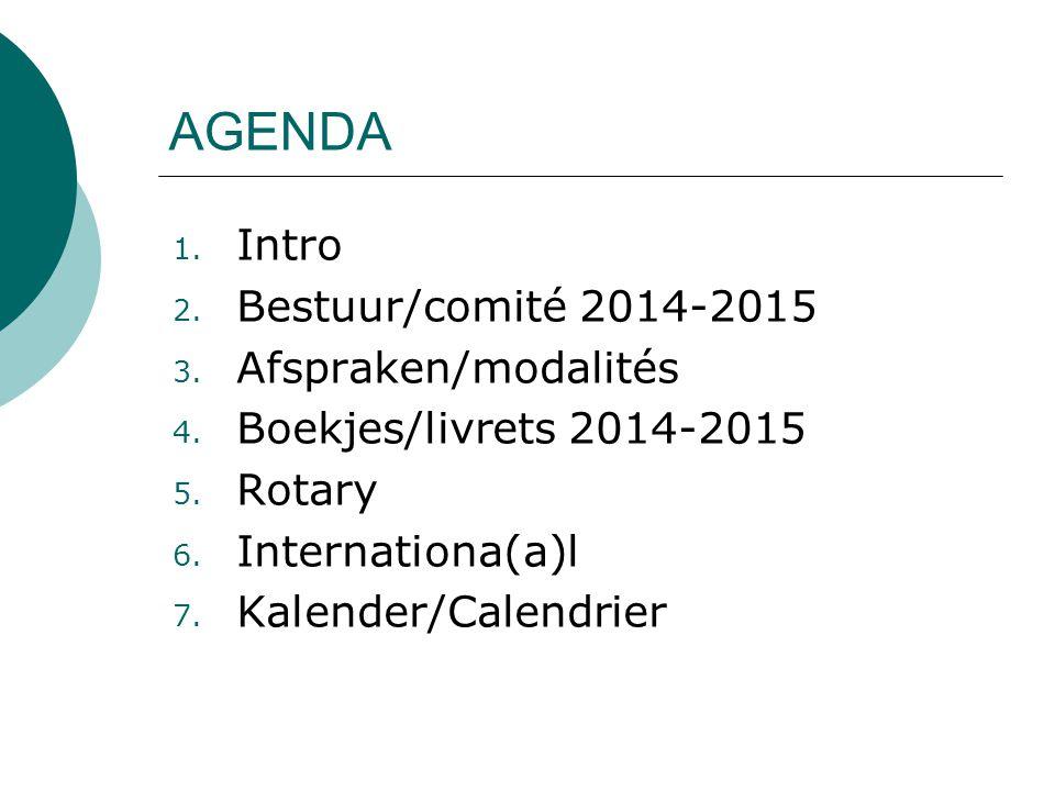 1. Intro 2. Bestuur/comité 2014-2015 3. Afspraken/modalités 4.