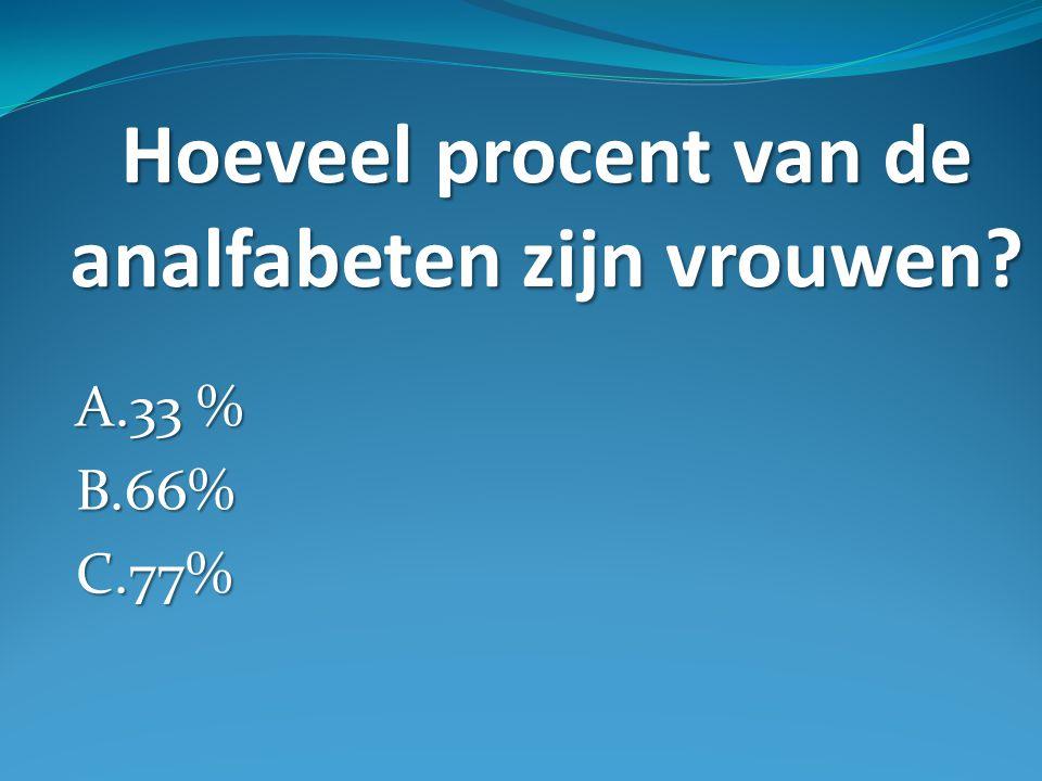 Hoeveel procent van de analfabeten zijn vrouwen A.33 % B.66%C.77%