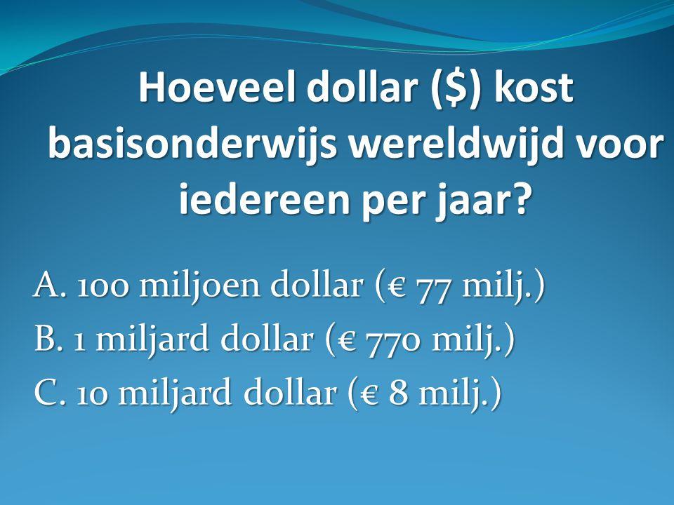 Hoeveel dollar ($) kost basisonderwijs wereldwijd voor iedereen per jaar.