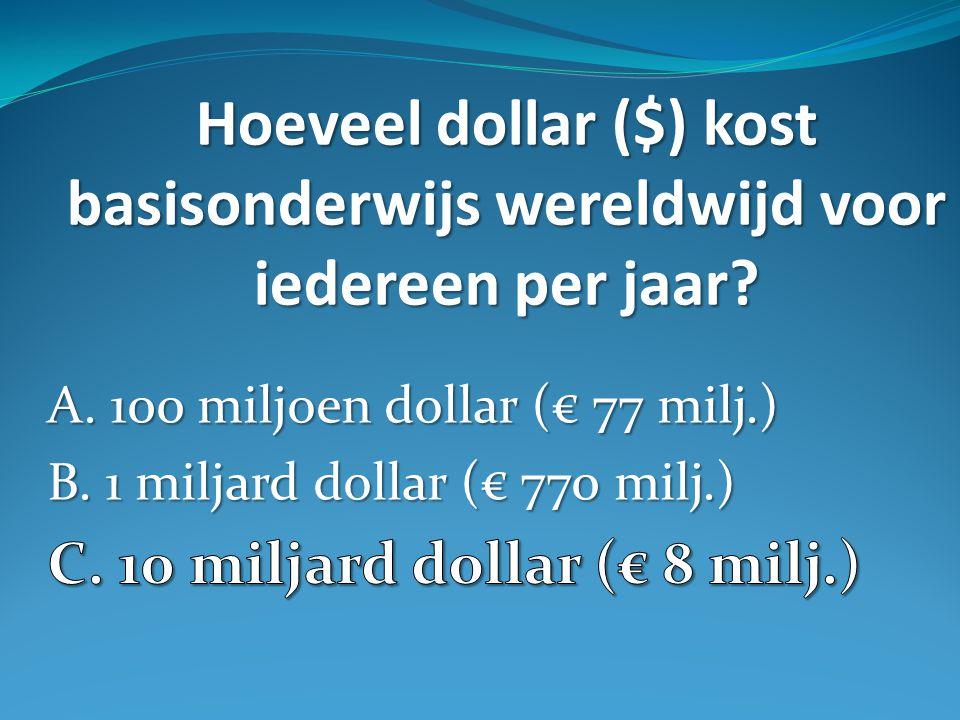 Hoeveel dollar ($) kost basisonderwijs wereldwijd voor iedereen per jaar