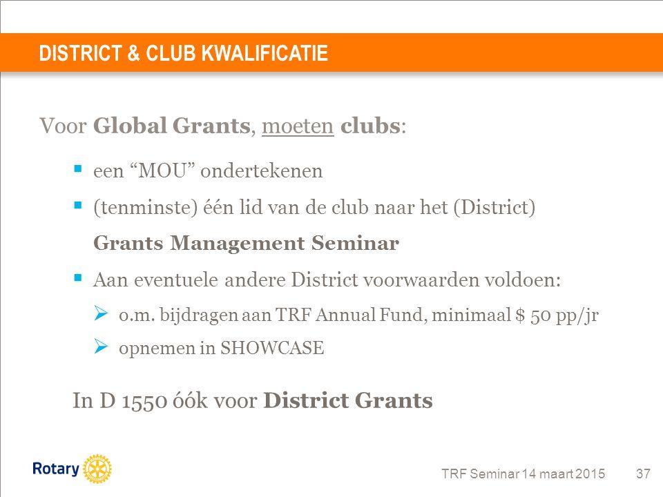 """TRF Seminar 14 maart 2015 37 Voor Global Grants, moeten clubs:  een """"MOU"""" ondertekenen  (tenminste) één lid van de club naar het (District) Grants M"""