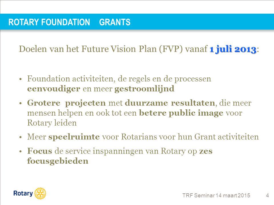 TRF Seminar 14 maart 2015 4 1 juli 2013 Doelen van het Future Vision Plan (FVP) vanaf 1 juli 2013: Foundation activiteiten, de regels en de processen