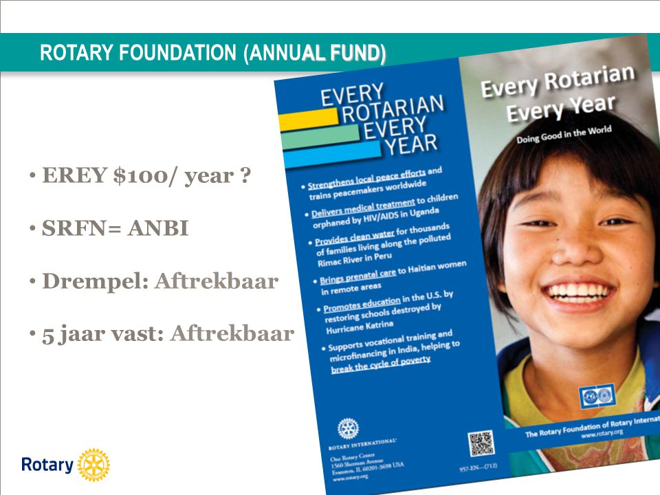 AL FUND) ROTARY FOUNDATION (ANNUAL FUND) EREY $100/ year .
