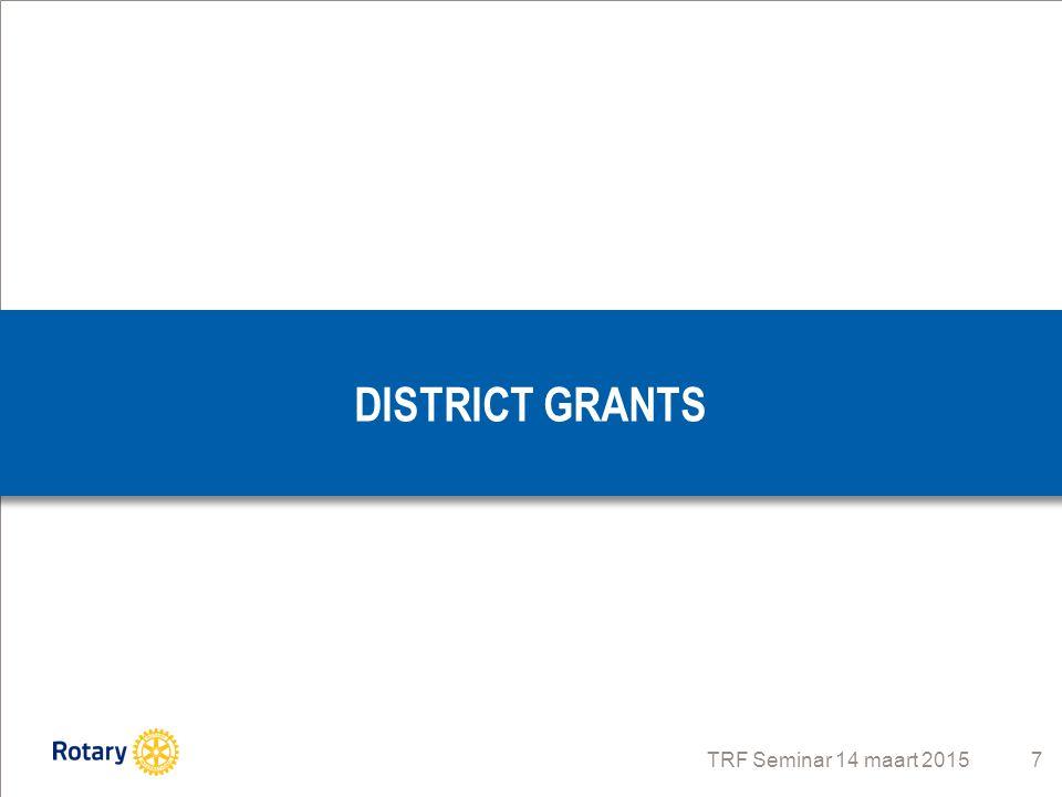 TRF Seminar 14 maart 2015 8 Beschikbaar geld komende 3 jaar rond de € 20.000 per jaar Wordt per jaar door gouverneur als één Block Grant aangevraagd Lokale (en internationale) projecten Scholing en opleiding Vocational training teams Vervoer- en transportkosten Onze voorkeur gaat uit naar lokale projecten, dit gezien de betrokkenheid en omvang van de bijdrage: Tussen: € 1.000 en € 2.500 per project, er is geen World Fund Match ROTARY FOUNDATION District Grants