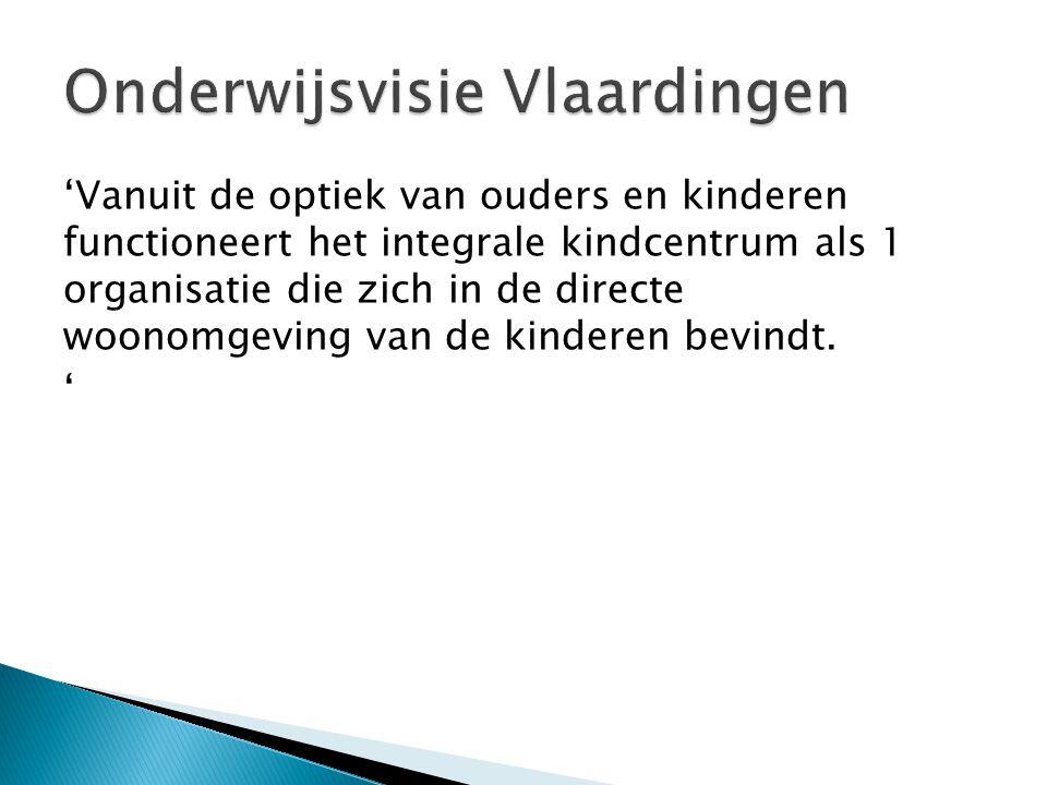'Vanuit de optiek van ouders en kinderen functioneert het integrale kindcentrum als 1 organisatie die zich in de directe woonomgeving van de kinderen
