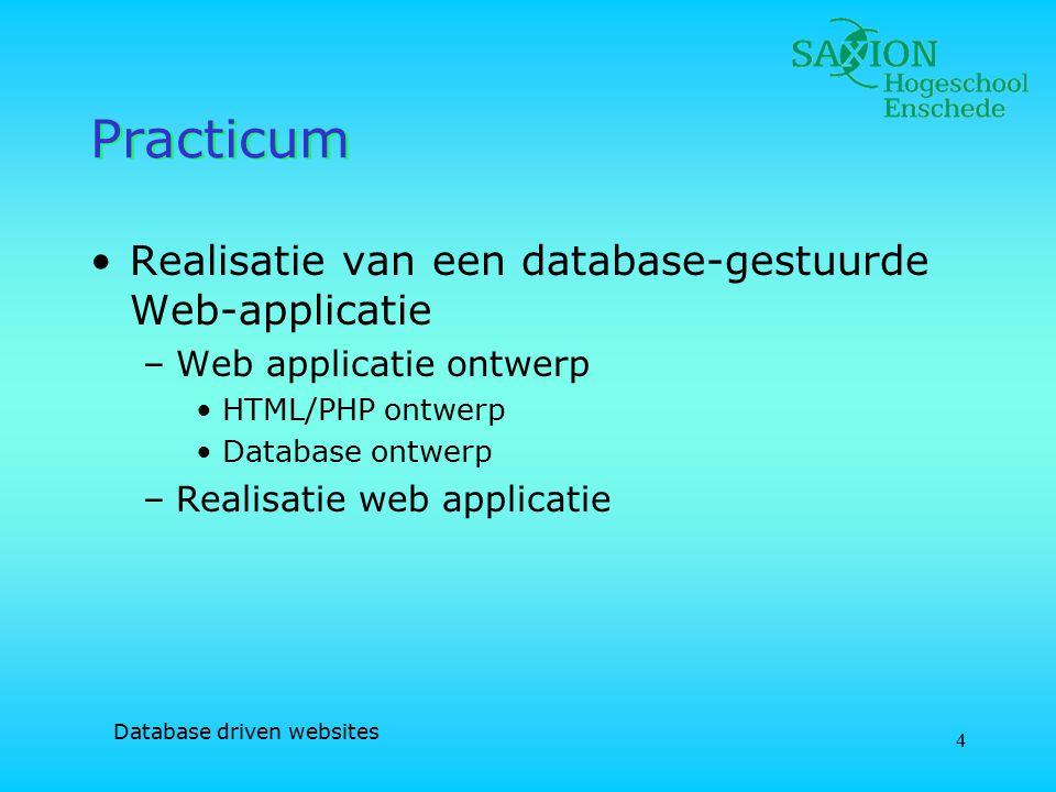 Database driven websites 5 Planning Week 1 Hoorcollege –Introductie –Groepsindeling –College 1 Practicum –Keuze applicatie –Ontwerp database