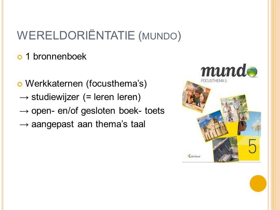 WERELDORIËNTATIE ( MUNDO ) 1 bronnenboek Werkkaternen (focusthema's) → studiewijzer (= leren leren) → open- en/of gesloten boek- toets → aangepast aan