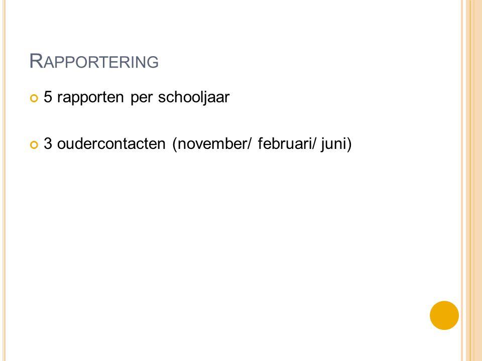 R APPORTERING 5 rapporten per schooljaar 3 oudercontacten (november/ februari/ juni)