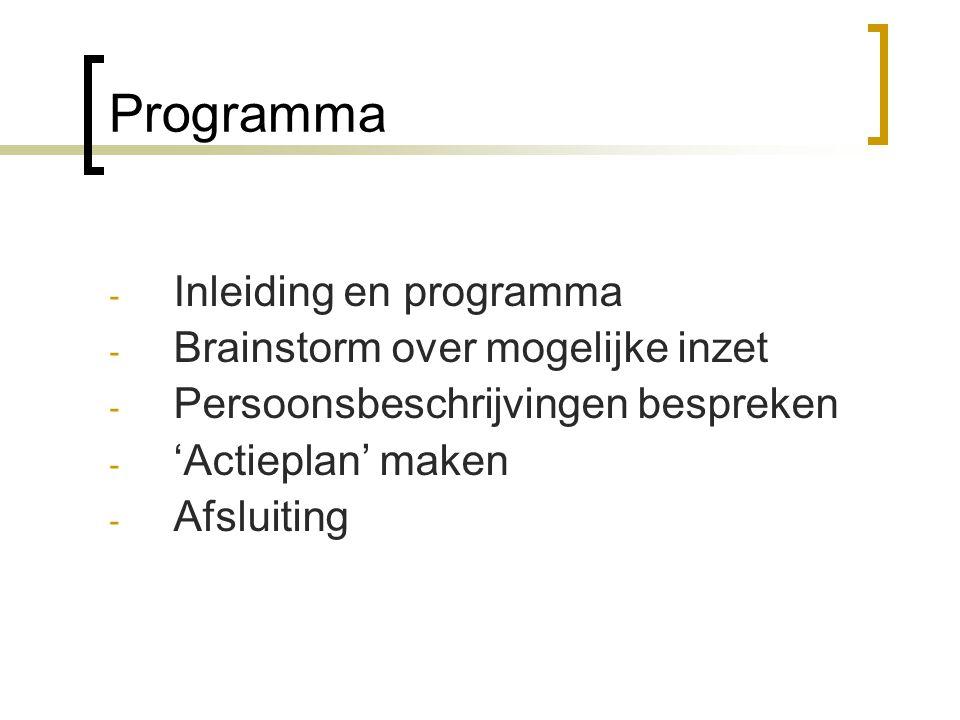 Programma - Inleiding en programma - Brainstorm over mogelijke inzet - Persoonsbeschrijvingen bespreken - 'Actieplan' maken - Afsluiting