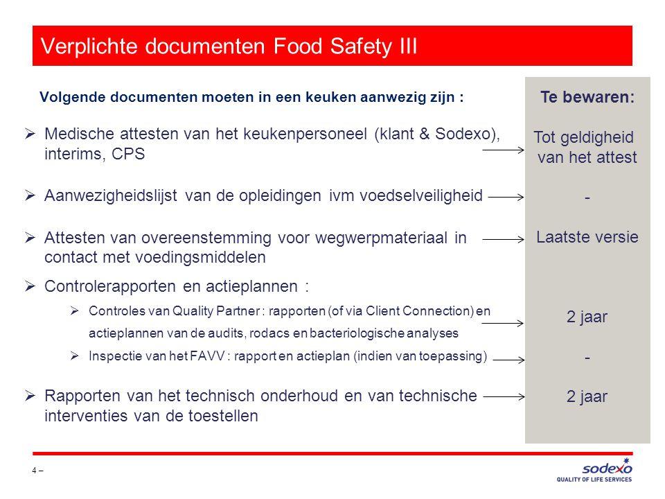Verplichte documenten Veiligheid 5 – Volgende documenten moeten in een keuken aanwezig zijn : Te bewaren: +1 jaar Laatste versie 3 jaar  TOOLBOX-verslagen van het lopende boekjaar  Het medisch certificaat van elke medewerker( Securex )  De veiligheidsaudit