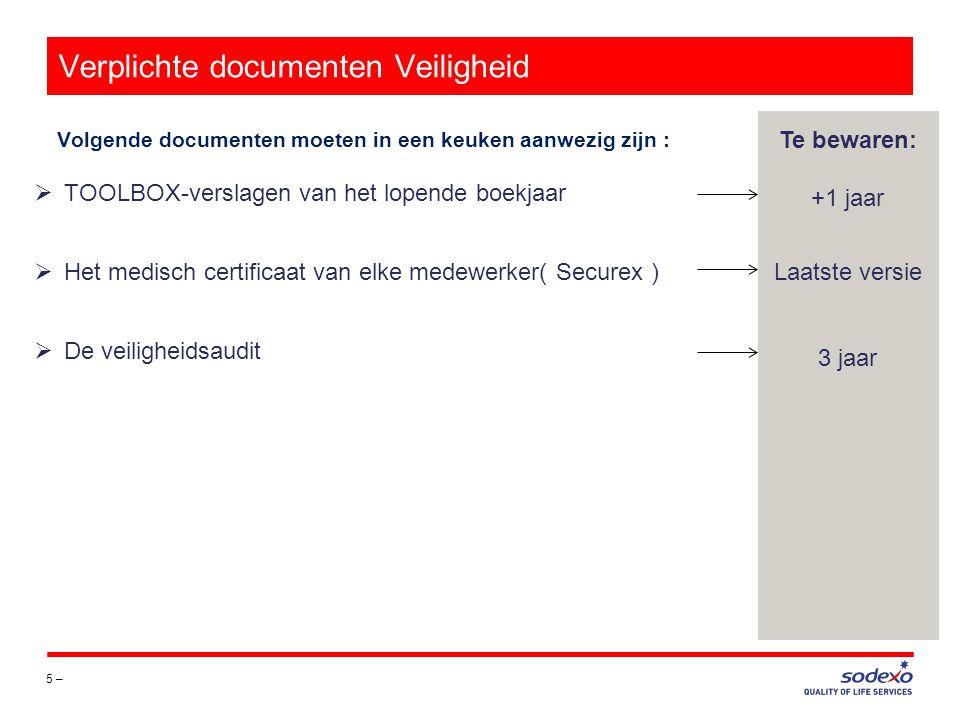 Verplichte documenten Boekhouding 6 – Volgende documenten moeten in een keuken aanwezig zijn : Te bewaren: 2 jaar  Er is geen vaste termijn voor het bijhouden van de documenten op de uitbating op voorwaarde dat de originele documenten naar de boekhouding zijn verzonden.