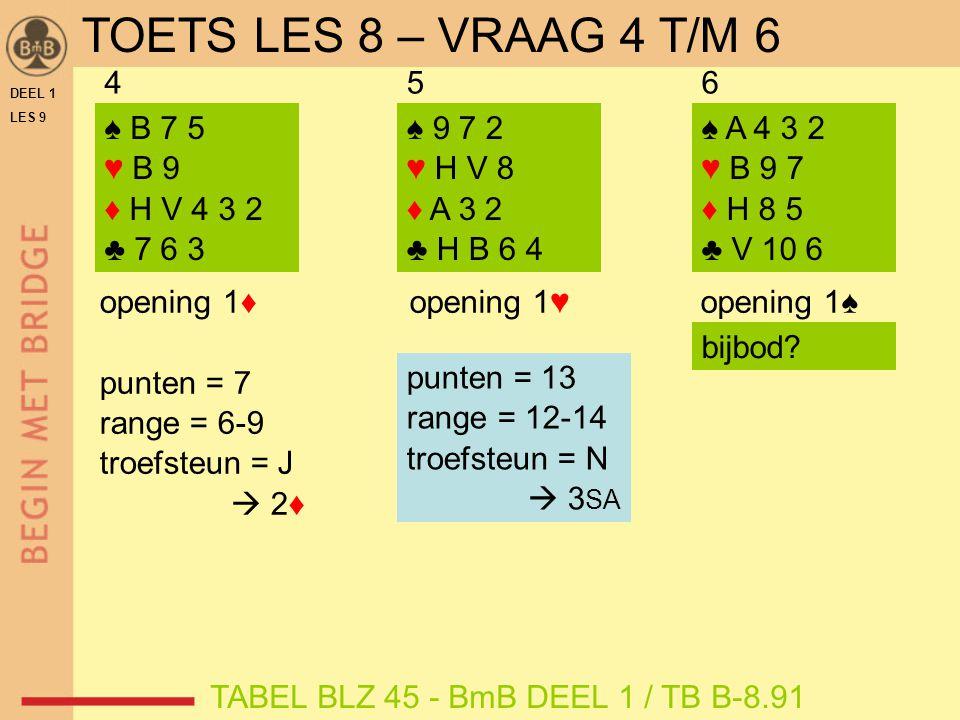 DEEL 1 LES 9 ♠ 9 7 2 ♥ H V 8 ♦ A 3 2 ♣ H B 6 4 ♠ A 4 3 2 ♥ B 9 7 ♦ H 8 5 ♣ V 10 6 456 opening 1♠ ♠ B 7 5 ♥ B 9 ♦ H V 4 3 2 ♣ 7 6 3 opening 1♥ opening 1♦ punten = 7 range = 6-9 troefsteun = J  2♦ TABEL BLZ 45 - BmB DEEL 1 / TB B-8.91 punten = 13 range = 12-14 troefsteun = N  3 SA bijbod.