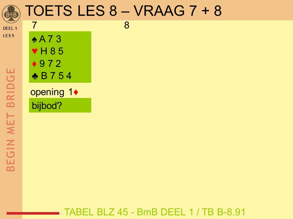 DEEL 1 LES 9 78 ♠ A 7 3 ♥ H 8 5 ♦ 9 7 2 ♣ B 7 5 4 opening 1♦ TABEL BLZ 45 - BmB DEEL 1 / TB B-8.91 bijbod.