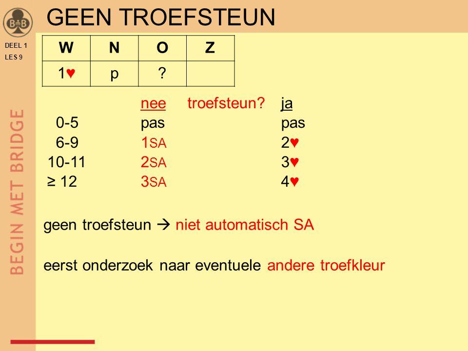 DEEL 1 LES 9 GEEN TROEFSTEUN neetroefsteun?ja 0-5paspas 6-91 SA 2♥ 10-112 SA 3♥ ≥ 12 3 SA 4♥ WNOZ 1♥1♥p.