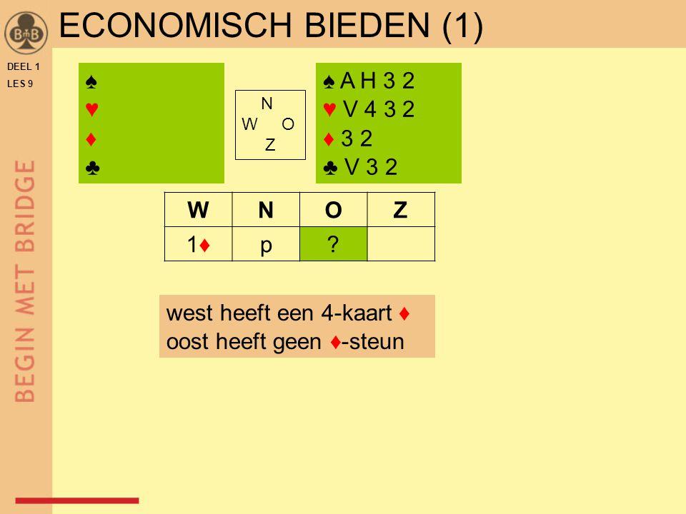 DEEL 1 LES 9 ECONOMISCH BIEDEN (1) ♠ A H 3 2 ♥ V 4 3 2 ♦ 3 2 ♣ V 3 2 N W O Z WNOZ 1♦1♦p.