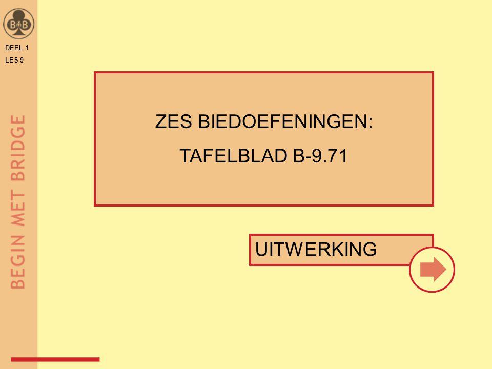 DEEL 1 LES 9 UITWERKING ZES BIEDOEFENINGEN: TAFELBLAD B-9.71