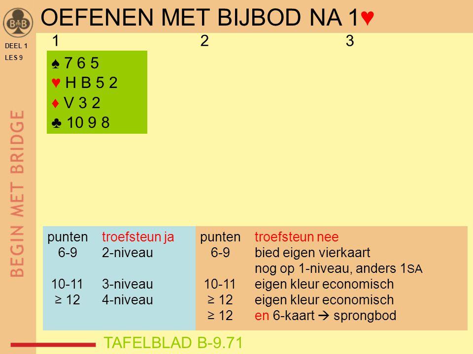 DEEL 1 LES 9 ♠ 7 6 5 ♥ H B 5 2 ♦ V 3 2 ♣ 10 9 8 123 punten troefsteun ja 6-9 2-niveau 10-11 3-niveau ≥ 12 4-niveau TAFELBLAD B-9.71 OEFENEN MET BIJBOD NA 1♥ punten troefsteun nee 6-9 bied eigen vierkaart nog op 1-niveau, anders 1 SA 10-11 eigen kleur economisch ≥ 12 eigen kleur economisch ≥ 12 en 6-kaart  sprongbod