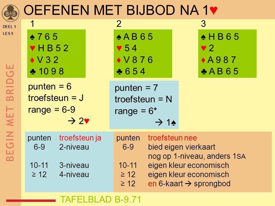 DEEL 1 LES 9 ♠ 7 6 5 ♥ H B 5 2 ♦ V 3 2 ♣ 10 9 8 ♠ H B 6 5 ♥ 2 ♦ A 9 8 7 ♣ A B 6 5 punten = 7 troefsteun = N range = 6 +  1♠ 123 punten = 6 troefsteun = J range = 6-9  2♥ ♠ A B 6 5 ♥ 5 4 ♦ V 8 7 6 ♣ 6 5 4 TAFELBLAD B-9.71 OEFENEN MET BIJBOD NA 1♥ punten troefsteun ja 6-9 2-niveau 10-11 3-niveau ≥ 12 4-niveau punten troefsteun nee 6-9 bied eigen vierkaart nog op 1-niveau, anders 1 SA 10-11 eigen kleur economisch ≥ 12 eigen kleur economisch ≥ 12 en 6-kaart  sprongbod