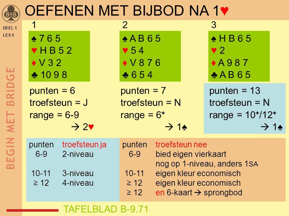 DEEL 1 LES 9 ♠ 7 6 5 ♥ H B 5 2 ♦ V 3 2 ♣ 10 9 8 ♠ H B 6 5 ♥ 2 ♦ A 9 8 7 ♣ A B 6 5 punten = 13 troefsteun = N range = 10 + /12 +  1♠ 123 ♠ A B 6 5 ♥ 5 4 ♦ V 8 7 6 ♣ 6 5 4 punten = 7 troefsteun = N range = 6 +  1♠ punten = 6 troefsteun = J range = 6-9  2♥ TAFELBLAD B-9.71 OEFENEN MET BIJBOD NA 1♥ punten troefsteun ja 6-9 2-niveau 10-11 3-niveau ≥ 12 4-niveau punten troefsteun nee 6-9 bied eigen vierkaart nog op 1-niveau, anders 1 SA 10-11 eigen kleur economisch ≥ 12 eigen kleur economisch ≥ 12 en 6-kaart  sprongbod