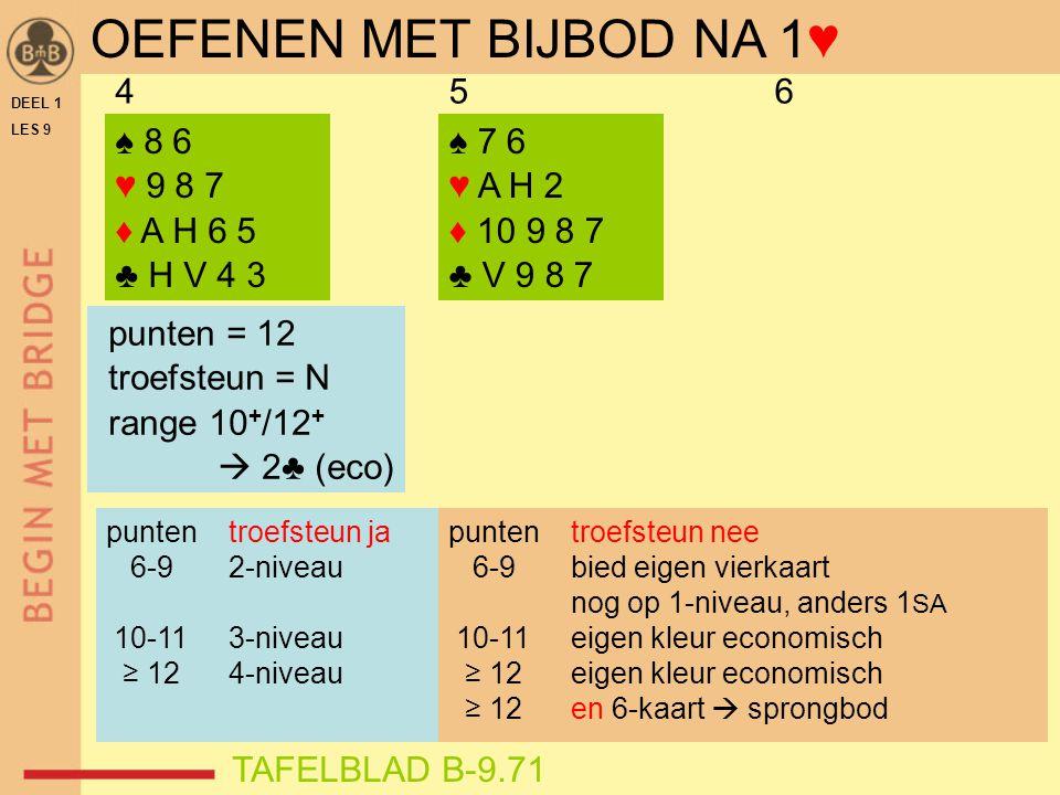 DEEL 1 LES 9 ♠ 8 6 ♥ 9 8 7 ♦ A H 6 5 ♣ H V 4 3 456 ♠ 7 6 ♥ A H 2 ♦ 10 9 8 7 ♣ V 9 8 7 punten = 12 troefsteun = N range 10 + /12 +  2♣ (eco) TAFELBLAD B-9.71 OEFENEN MET BIJBOD NA 1♥ punten troefsteun ja 6-9 2-niveau 10-11 3-niveau ≥ 12 4-niveau punten troefsteun nee 6-9 bied eigen vierkaart nog op 1-niveau, anders 1 SA 10-11 eigen kleur economisch ≥ 12 eigen kleur economisch ≥ 12 en 6-kaart  sprongbod