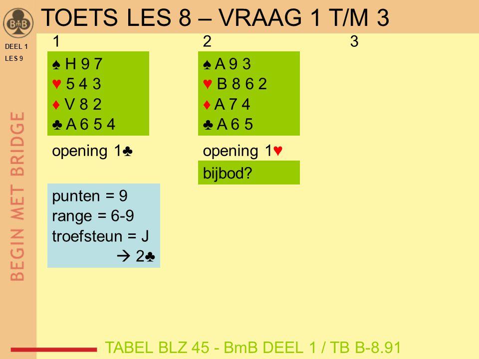 DEEL 1 LES 9 ♠ H 9 7 ♥ 5 4 3 ♦ V 8 2 ♣ A 6 5 4 ♠ A 9 3 ♥ B 8 6 2 ♦ A 7 4 ♣ A 6 5 ♠ V 7 6 ♥ A 8 4 ♦ B 9 7 5 ♣ B 4 3 opening 1♥ 123 opening 1♠ opening 1♣ punten = 9 range = 6-9 troefsteun = J  2♣ TABEL BLZ 45 - BmB DEEL 1 / TB B-8.91 punten = 13 range = 12-14 troefsteun = J  4♥ bijbod.