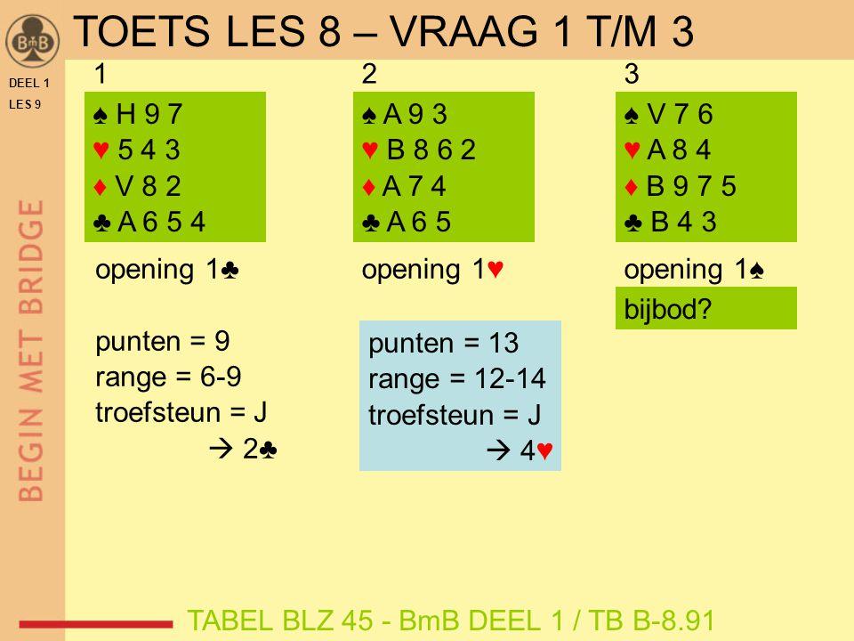 DEEL 1 LES 9 ♠ 7 6 5 ♥ H B 5 2 ♦ V 3 2 ♣ 10 9 8 punten = 6 troefsteun = J range = 6-9  2♥ 123 ♠ A B 6 5 ♥ 5 4 ♦ V 8 7 6 ♣ 6 5 4 TAFELBLAD B-9.71 OEFENEN MET BIJBOD NA 1♥ punten troefsteun ja 6-9 2-niveau 10-11 3-niveau ≥ 12 4-niveau punten troefsteun nee 6-9 bied eigen vierkaart nog op 1-niveau, anders 1 SA 10-11 eigen kleur economisch ≥ 12 eigen kleur economisch ≥ 12 en 6-kaart  sprongbod