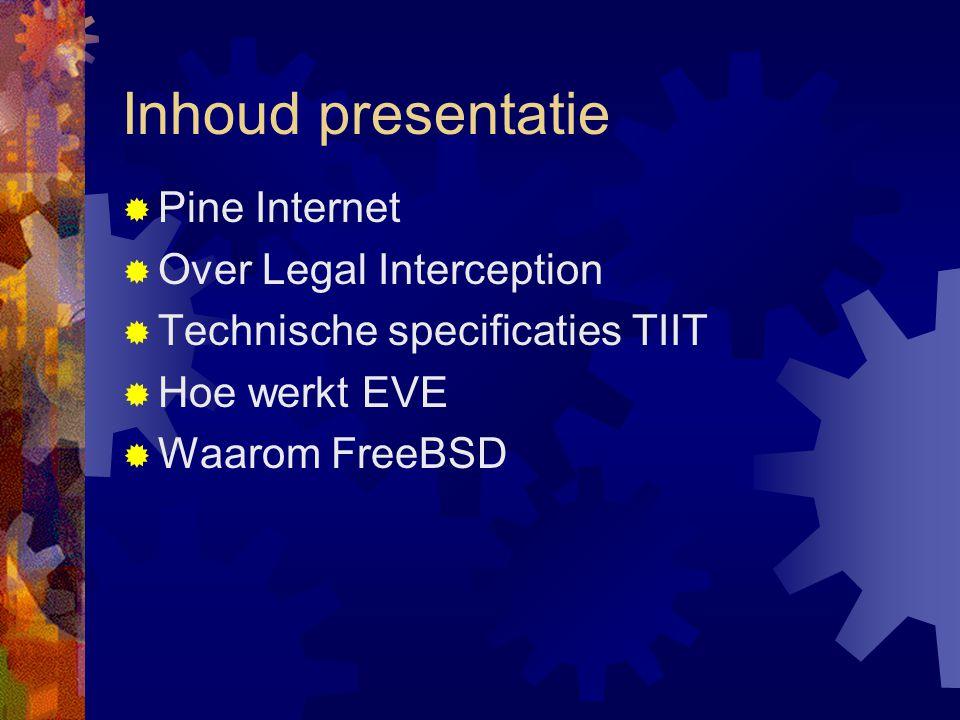 Pine Internet  Opgericht 1997  Ontstaan vanuit ISP  Traditioneel leverancier aan ISP's  Focus op techniek en security  Oprichter security.nl