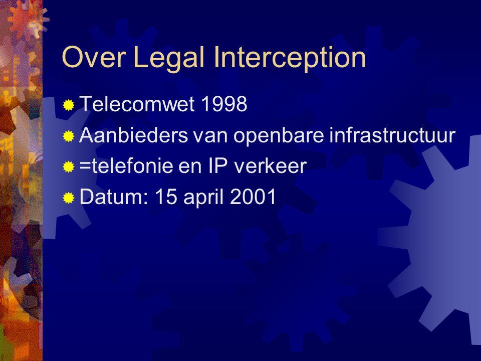 Over Legal Interception  Telecomwet 1998  Aanbieders van openbare infrastructuur  =telefonie en IP verkeer  Datum: 15 april 2001