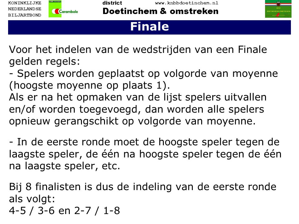 Finale Voor het indelen van de wedstrijden van een Finale gelden regels: - Spelers worden geplaatst op volgorde van moyenne (hoogste moyenne op plaats 1).